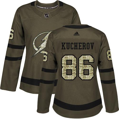 Adidas Lightning #86 Nikita Kucherov Green Salute to Service Women's Stitched NHL Jersey