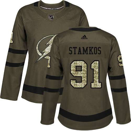 Adidas Lightning #91 Steven Stamkos Green Salute to Service Women's Stitched NHL Jersey