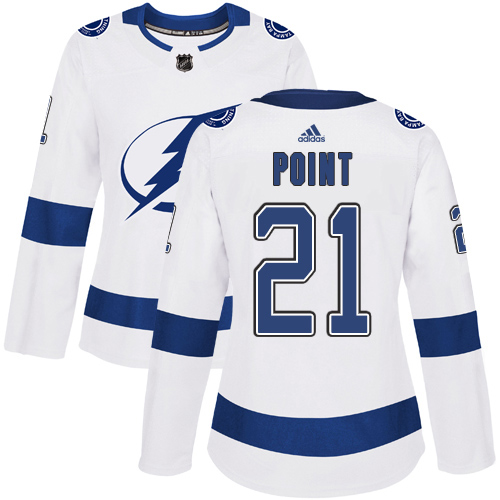 Adidas Lightning #21 Brayden Point White Road Authentic Women's Stitched NHL Jersey