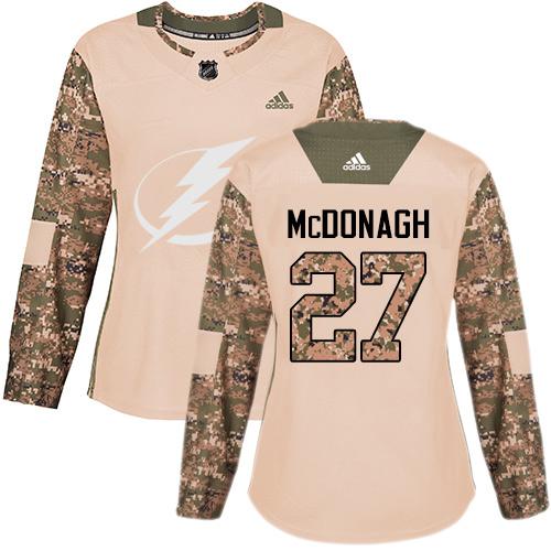 Adidas Lightning #27 Ryan McDonagh Camo Authentic 2017 Veterans Day Women's Stitched NHL Jersey