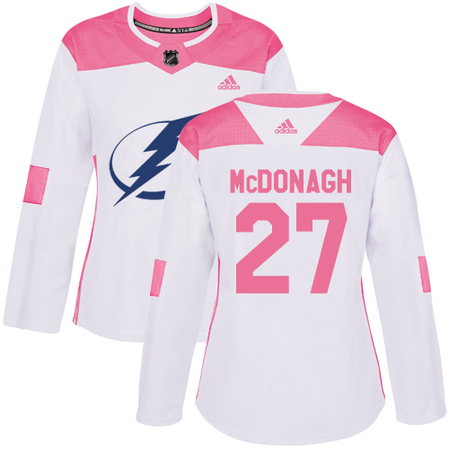Adidas Lightning #27 Ryan McDonagh White/Pink Authentic Fashion Women's Stitched NHL Jersey