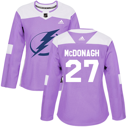 Adidas Lightning #27 Ryan McDonagh Purple Authentic Fights Cancer Women's Stitched NHL Jersey