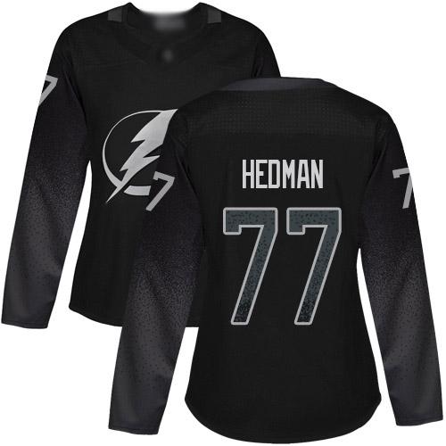 Adidas Lightning #77 Victor Hedman Black Alternate Authentic Women's Stitched NHL Jersey