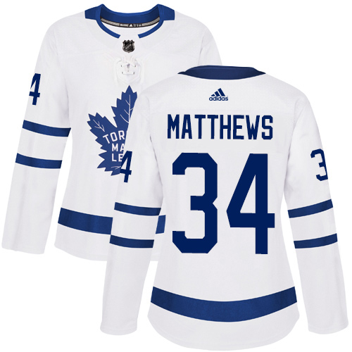 Adidas Maple Leafs #34 Auston Matthews White Road Authentic Women's Stitched NHL Jersey