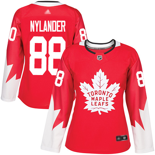 Adidas Maple Leafs #88 William Nylander Red Team Canada Authentic Women's Stitched NHL Jersey