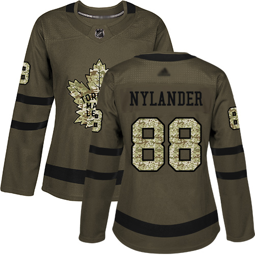Adidas Maple Leafs #88 William Nylander Green Salute to Service Women's Stitched NHL Jersey