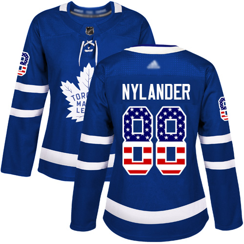 Adidas Maple Leafs #88 William Nylander Blue Home Authentic USA Flag Women's Stitched NHL Jersey