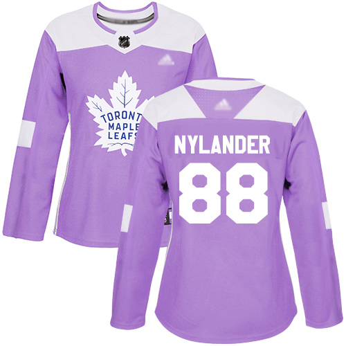 Adidas Maple Leafs #88 William Nylander Purple Authentic Fights Cancer Women's Stitched NHL Jersey