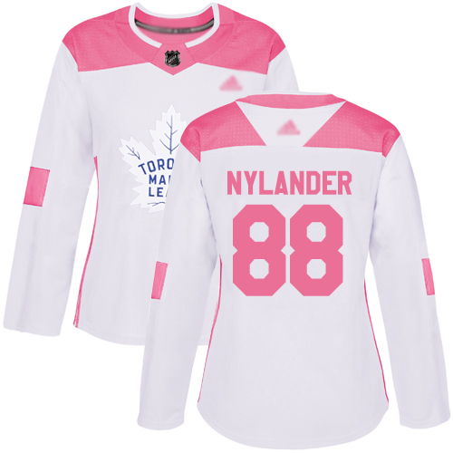 Adidas Maple Leafs #88 William Nylander White/Pink Authentic Fashion Women's Stitched NHL Jersey