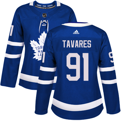 Adidas Maple Leafs #91 John Tavares Blue Home Authentic Women's Stitched NHL Jersey
