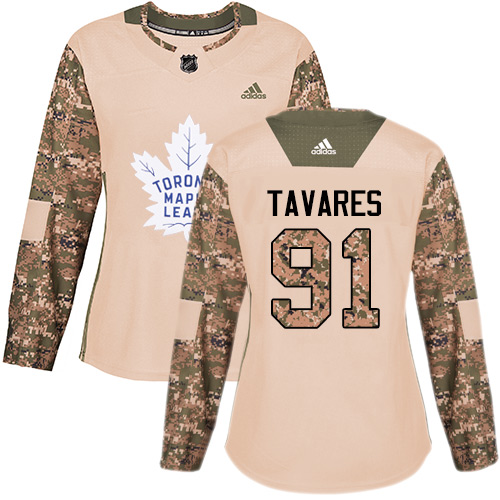Adidas Maple Leafs #91 John Tavares Camo Authentic 2017 Veterans Day Women's Stitched NHL Jersey