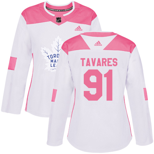 Adidas Maple Leafs #91 John Tavares White/Pink Authentic Fashion Women's Stitched NHL Jersey