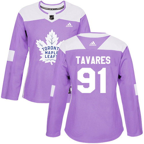 Adidas Maple Leafs #91 John Tavares Purple Authentic Fights Cancer Women's Stitched NHL Jersey