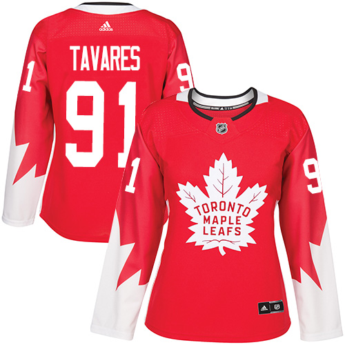 Adidas Maple Leafs #91 John Tavares Red Team Canada Authentic Women's Stitched NHL Jersey