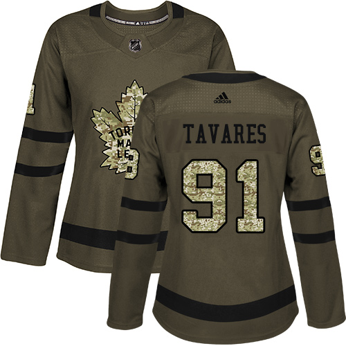 Adidas Maple Leafs #91 John Tavares Green Salute to Service Women's Stitched NHL Jersey