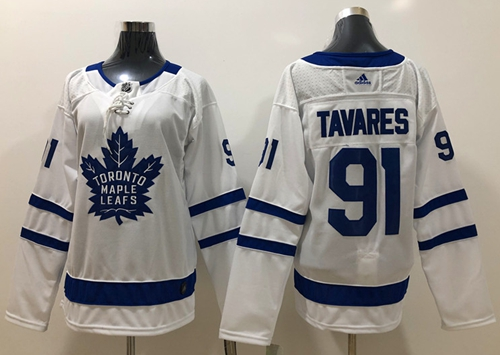 Adidas Maple Leafs #91 John Tavares White Road Authentic Women's Stitched NHL Jersey