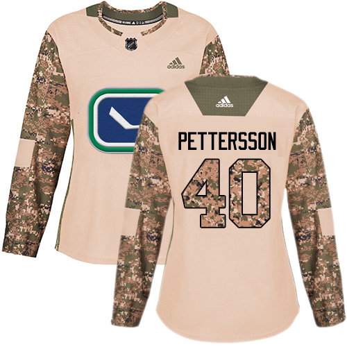 Adidas Canucks #40 Elias Pettersson Camo Authentic 2017 Veterans Day Women's Stitched NHL Jersey