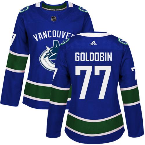 Adidas Canucks #77 Nikolay Goldobin Blue Home Authentic Women's Stitched NHL Jersey