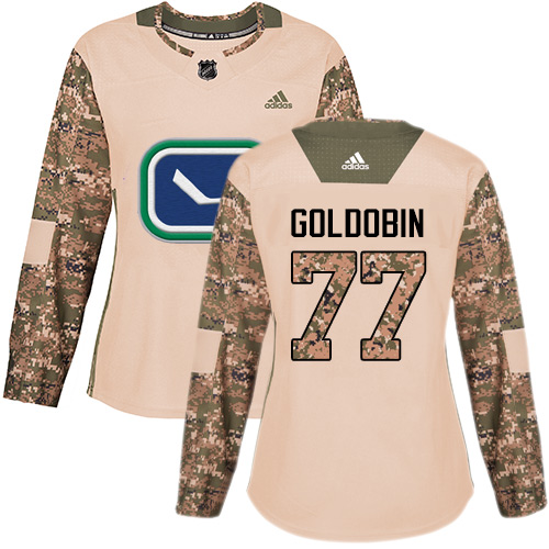 Adidas Canucks #77 Nikolay Goldobin Camo Authentic 2017 Veterans Day Women's Stitched NHL Jersey