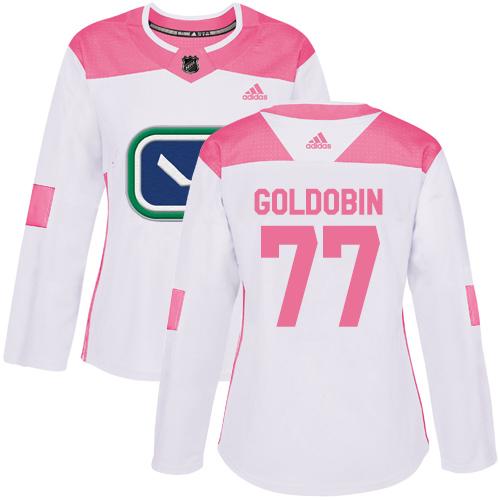 Adidas Canucks #77 Nikolay Goldobin White/Pink Authentic Fashion Women's Stitched NHL Jersey
