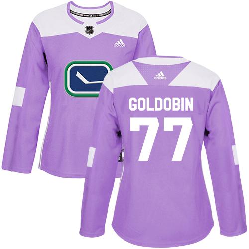 Adidas Canucks #77 Nikolay Goldobin Purple Authentic Fights Cancer Women's Stitched NHL Jersey