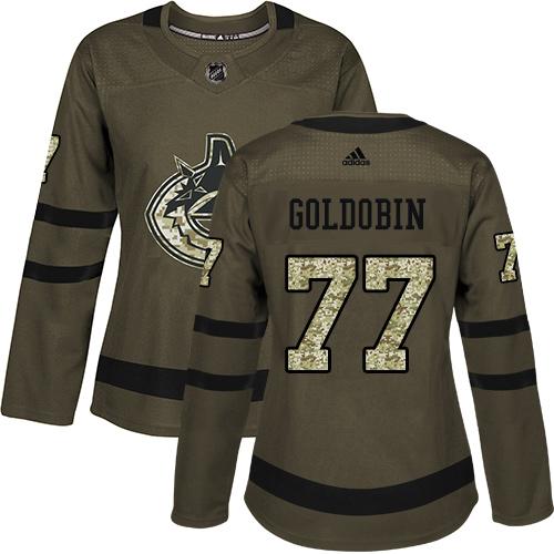 Adidas Canucks #77 Nikolay Goldobin Green Salute to Service Women's Stitched NHL Jersey