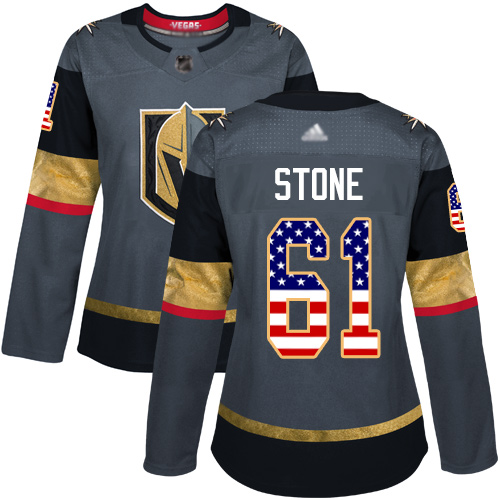 Adidas Golden Knights #61 Mark Stone Grey Home Authentic USA Flag Women's Stitched NHL Jersey
