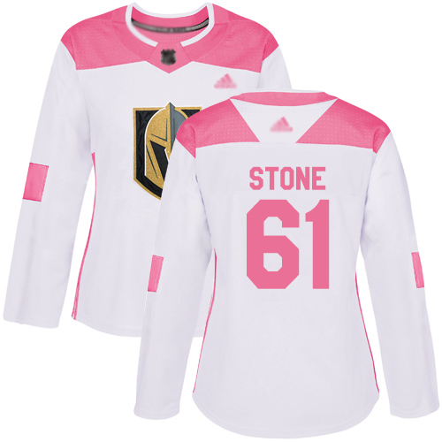 Adidas Golden Knights #61 Mark Stone White/Pink Authentic Fashion Women's Stitched NHL Jersey