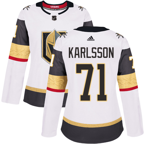 Adidas Golden Knights #71 William Karlsson White Road Authentic Women's Stitched NHL Jersey
