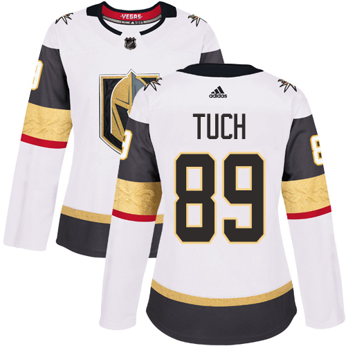 Adidas Golden Knights #89 Alex Tuch White Road Authentic Women's Stitched NHL Jersey