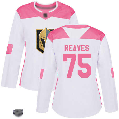 Adidas Golden Knights #75 Ryan Reaves White/Pink Authentic Fashion Women's Stitched NHL Jersey