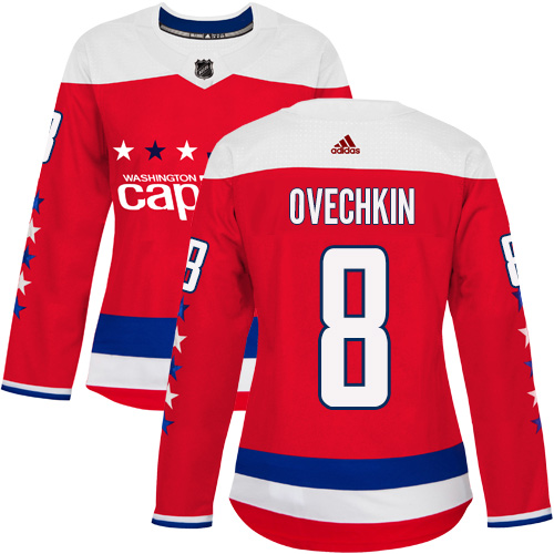 Adidas Capitals #8 Alex Ovechkin Red Alternate Authentic Women's Stitched NHL Jersey