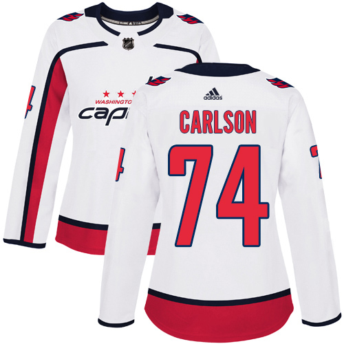 Adidas Capitals #74 John Carlson White Road Authentic Women's Stitched NHL Jersey