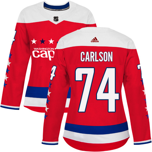 Adidas Capitals #74 John Carlson Red Alternate Authentic Women's Stitched NHL Jersey