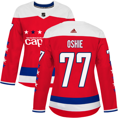 Adidas Capitals #77 T.J. Oshie Red Alternate Authentic Women's Stitched NHL Jersey