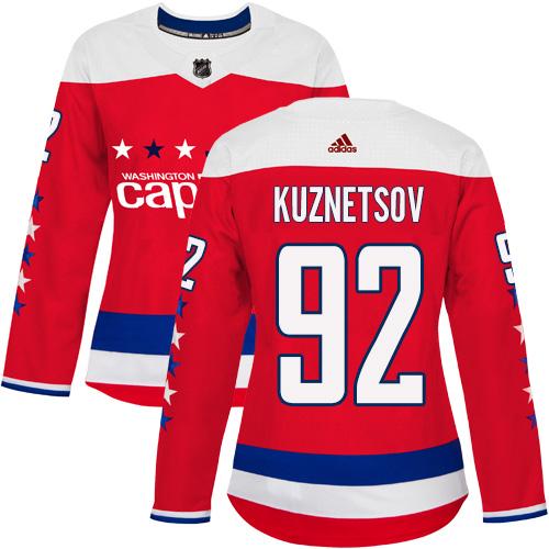 Adidas Capitals #92 Evgeny Kuznetsov Red Alternate Authentic Women's Stitched NHL Jersey