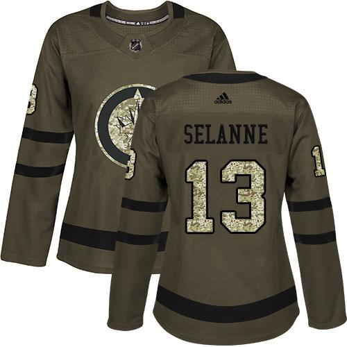 Adidas Jets #13 Teemu Selanne Green Salute to Service Women's Stitched NHL Jersey