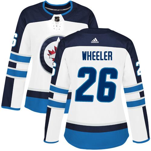 Adidas Jets #26 Blake Wheeler White Road Authentic Women's Stitched NHL Jersey
