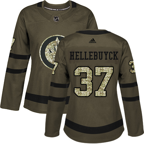 Adidas Jets #37 Connor Hellebuyck Green Salute to Service Women's Stitched NHL Jersey