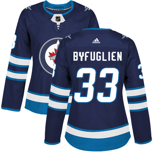 Adidas Jets #33 Dustin Byfuglien Navy Blue Home Authentic Women's Stitched NHL Jersey
