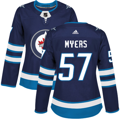 Adidas Jets #57 Tyler Myers Navy Blue Home Authentic Women's Stitched NHL Jersey