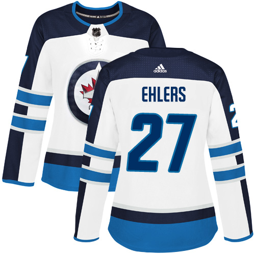 Adidas Jets #27 Nikolaj Ehlers White Road Authentic Women's Stitched NHL Jersey