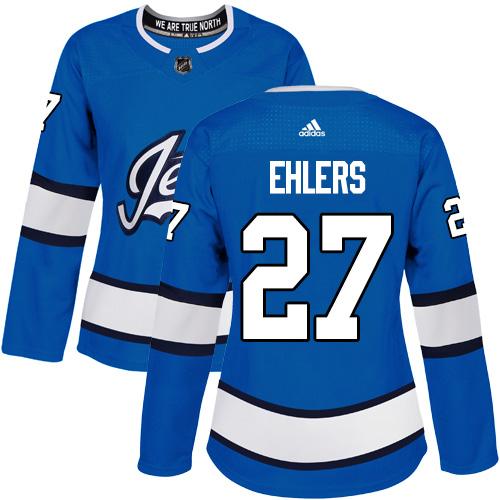 Adidas Jets #27 Nikolaj Ehlers Blue Alternate Authentic Women's Stitched NHL Jersey