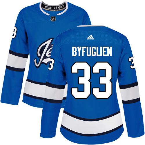 Adidas Jets #33 Dustin Byfuglien Blue Alternate Authentic Women's Stitched NHL Jersey