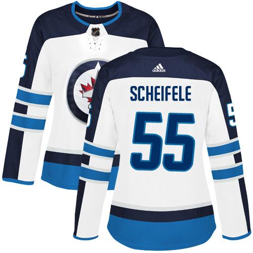 Adidas Jets #55 Mark Scheifele White Road Authentic Women's Stitched NHL Jersey