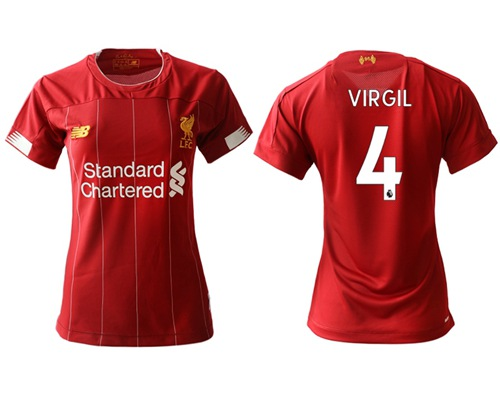 Women's Liverpool #4 Virgil Red Home Soccer Club Jersey