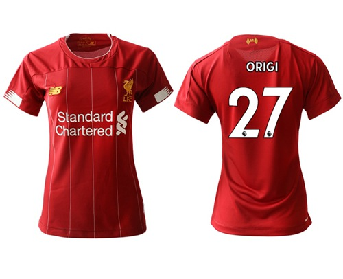 Women's Liverpool #27 Origi Red Home Soccer Club Jersey