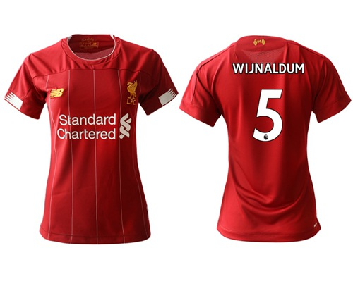 Women's Liverpool #5 Wijnaldum Red Home Soccer Club Jersey