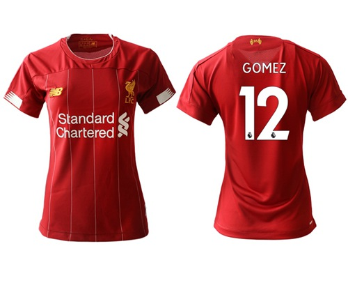 Women's Liverpool #12 Gomez Red Home Soccer Club Jersey