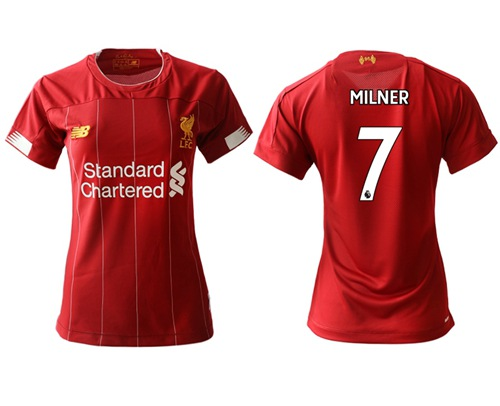 Women's Liverpool #7 Milner Red Home Soccer Club Jersey